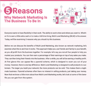 5 Reasons Why Network Marketing Is the Business to Be In